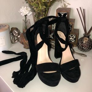 Sexy Lace up Black Chunky Heels